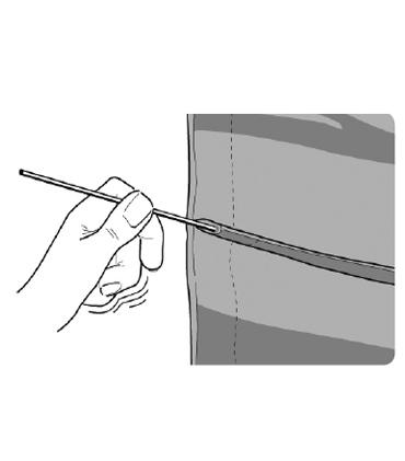 Grafik zum Entnehmen der Fallstäbe bei Reinigung des Raffrollos
