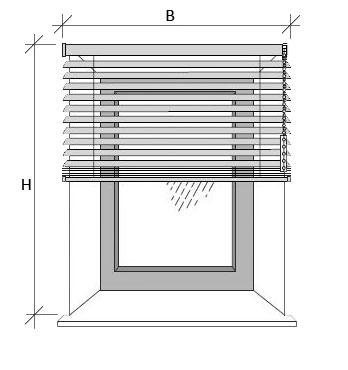 Skizze zum Ausmessen der Jalousie vor der Fensternische