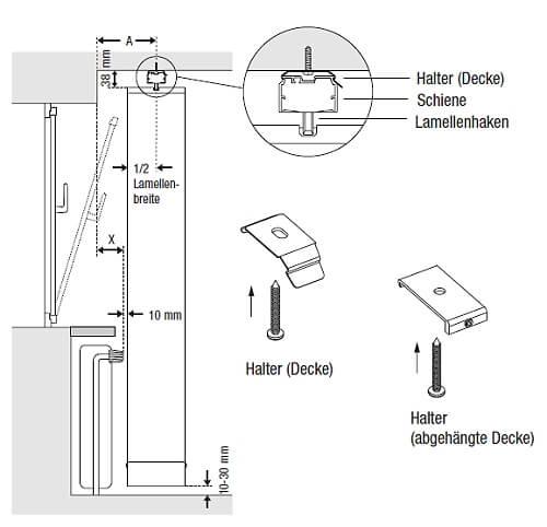 Anleitung für das Ausmessen und die Montage eines Lamellenvorhangs an der Decke