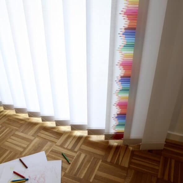 Lamellenvorhänge creativprint Buntstifte Steine