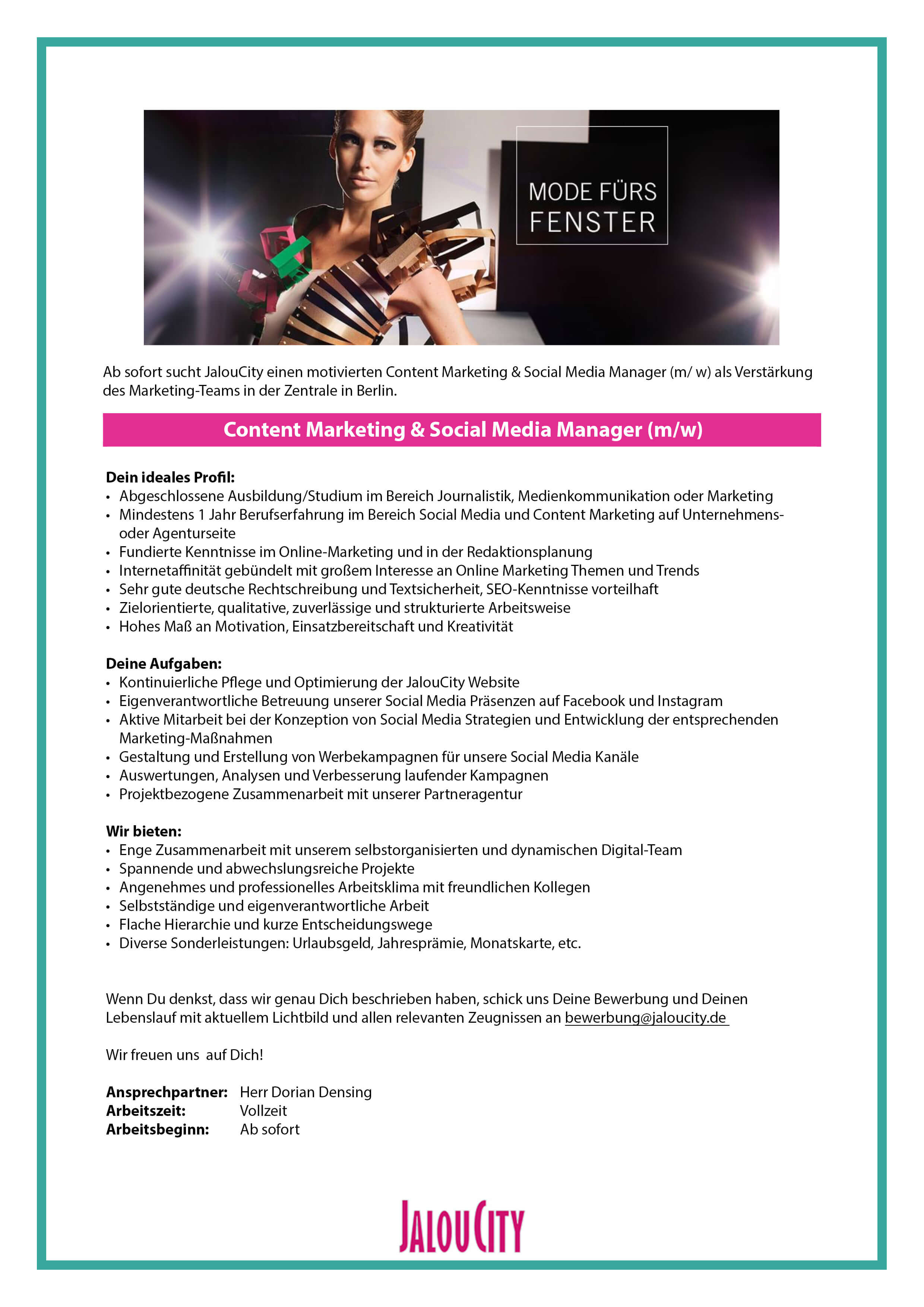 Social Media und Content Marketing Manager  (m/w) bei JalouCity
