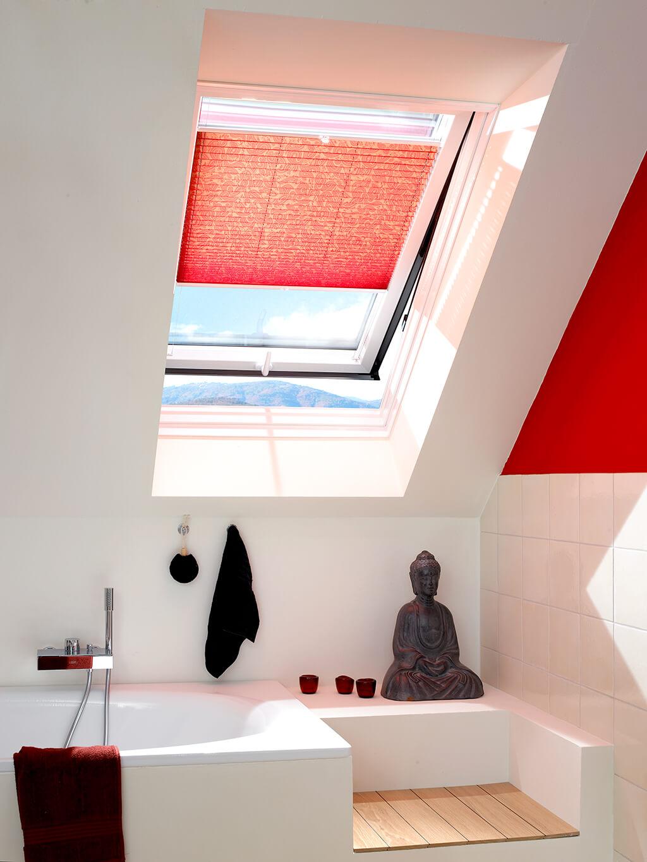 Plissee Rot Dachfenster 02