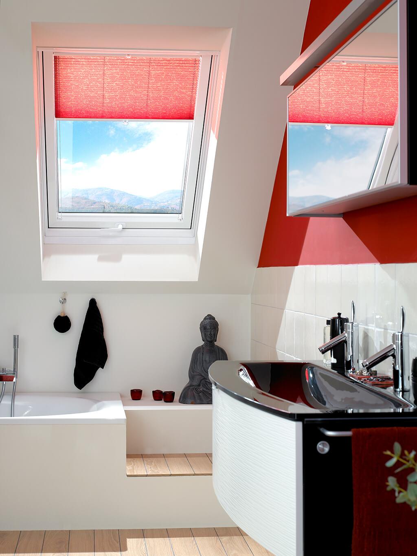 Plissee Rot Dachfenster 03