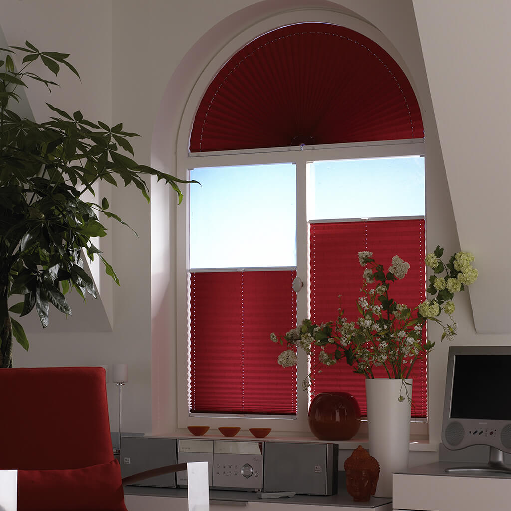 Plissee Halbrund Rot 01