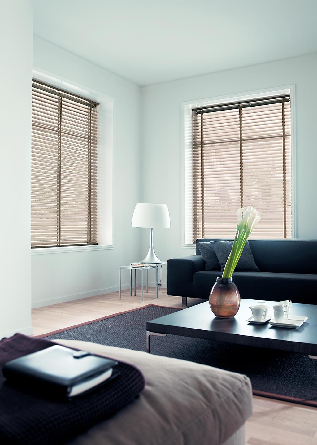 Zwei große Wohnzimmerfenster mit beigen Alu-Jalousien und gleichfarbigen Leiterbändern