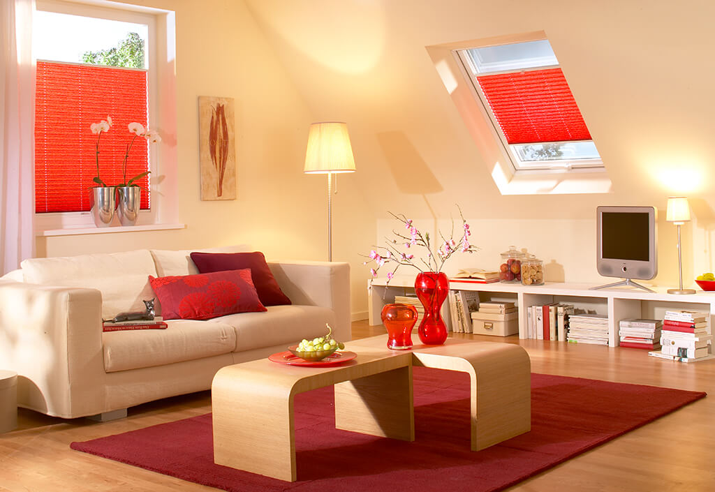 Plissee Rot Dachfenster 05
