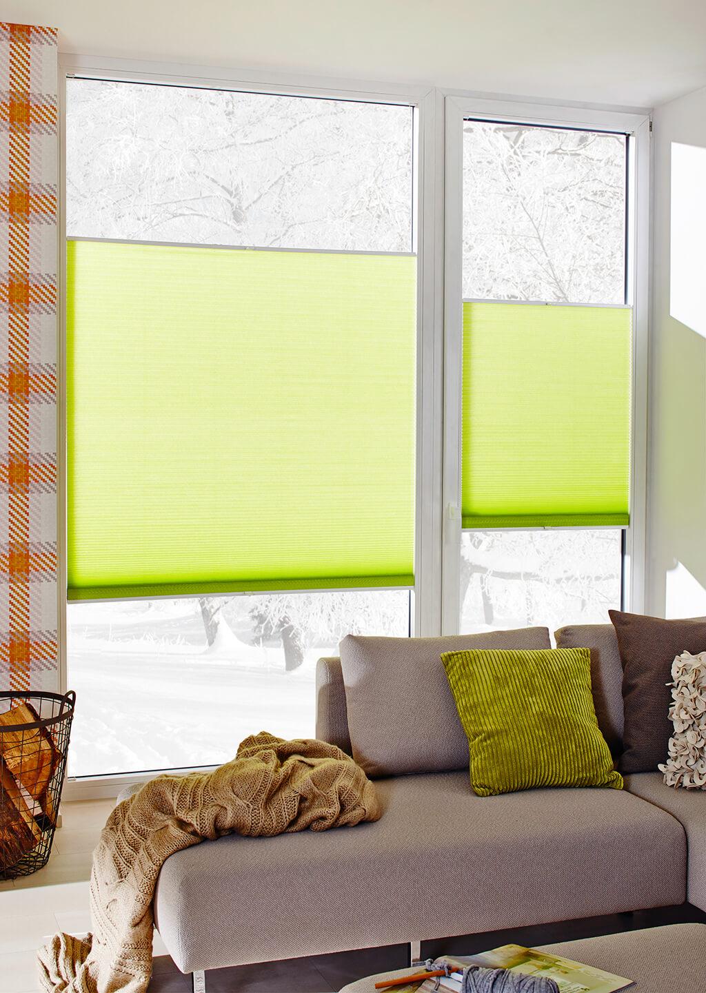 Grüne Wabenplissees an deckenhohen Fenstern im Wohnzimmer mit verschneiter Landschaft im Hintergrund