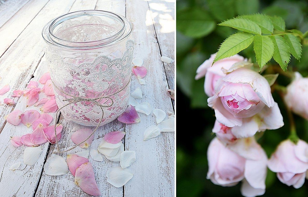 Windlicht mit Deko und Rosen