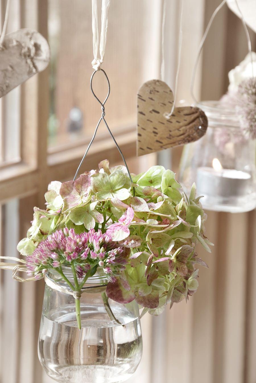 Fensterdeko - Blumen in Glas
