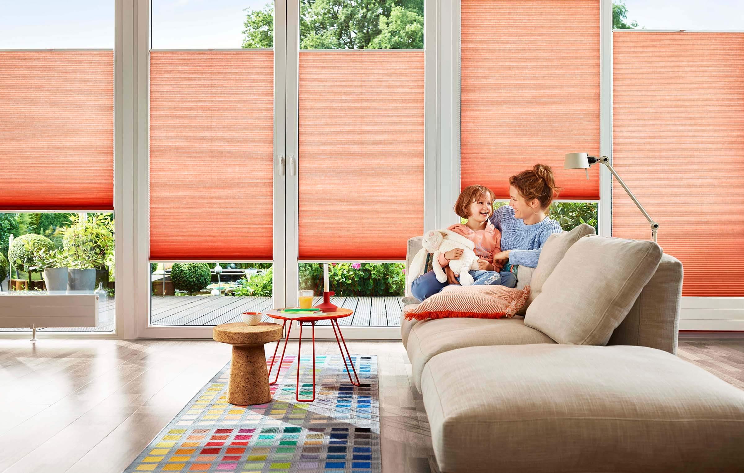 DUETTE Wabenplissees Farbe Orange Im Wohnzimmer