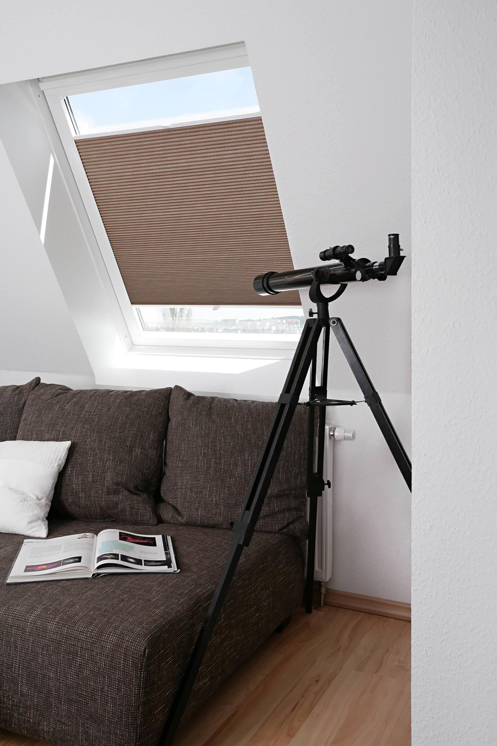 Braune Wabenplissees für Dachfenster im Wohnzimmer