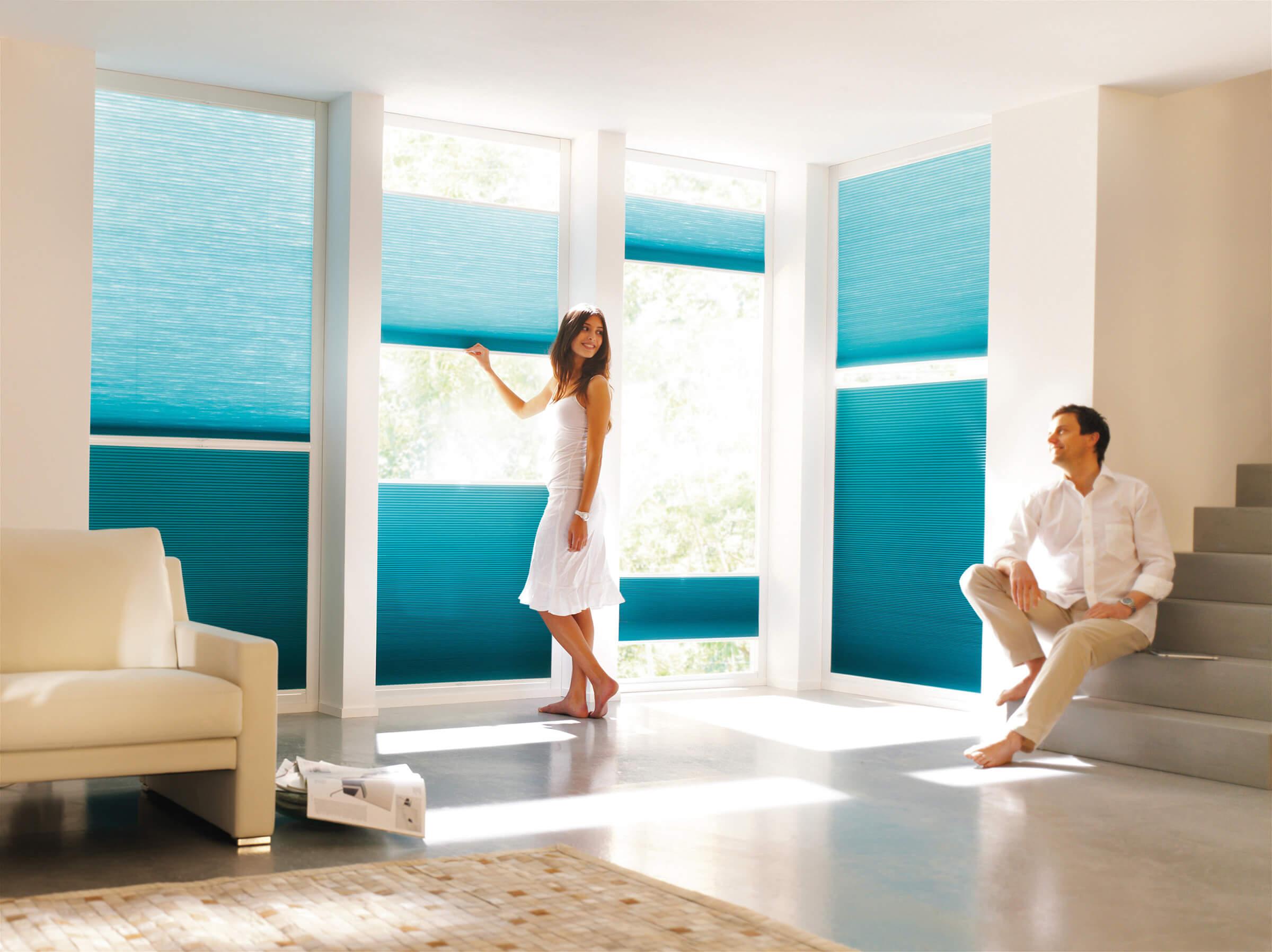 Blaue Wabenplissees mit zwei Bediengriffen im Wohnbereich