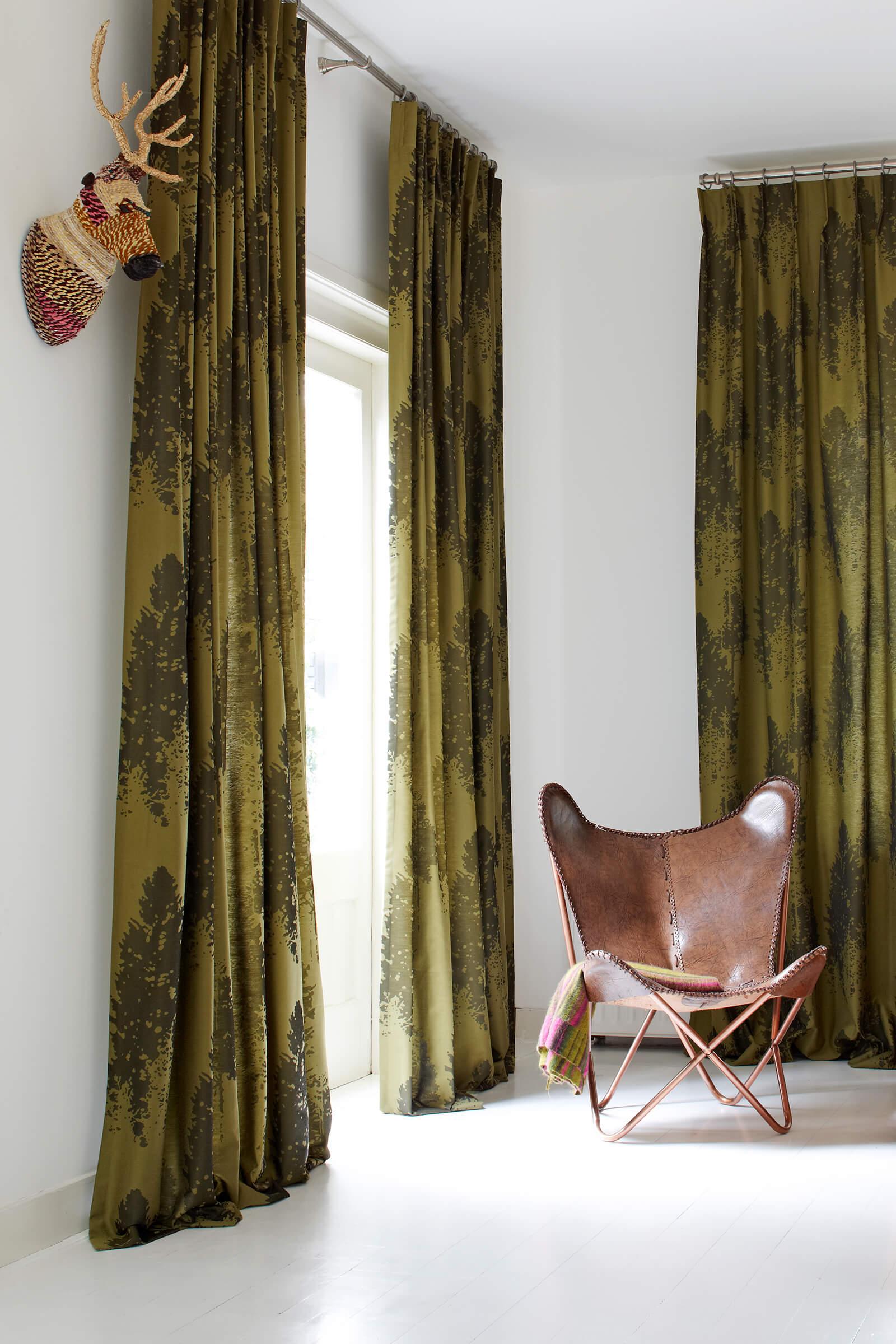 Schallschutzvorhang Grün Dekor im Wohnzimmer
