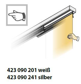 Flächenvorhang Bedienvariante per Hand