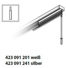 Flächenvorhang Bedienvariante mit Schleuderstab