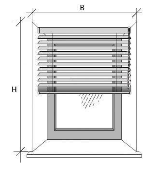 Skizze zum Ausmessen der Jalousie in der Fensternische