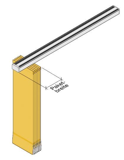 Skizze zur Paketbreite eines Lamellenvorhangs