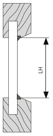 Maßnehmen für Montage von Klebeleiste mit Dichtung kleiner oder gleich 5mm