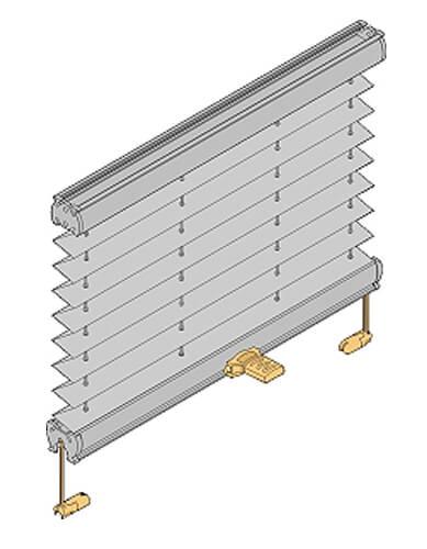 Verspanntes Plisseemodell VS1 mit fester und variabler Schiene