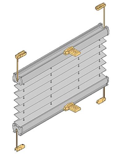 Verspanntes Plisseemodell VS2 mit zwei beweglichen Schienen