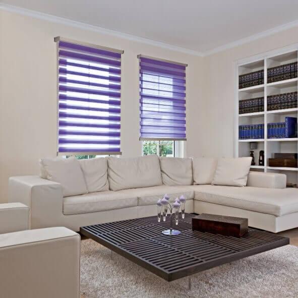 Doppelrollo in violet mit edlem Designprofil