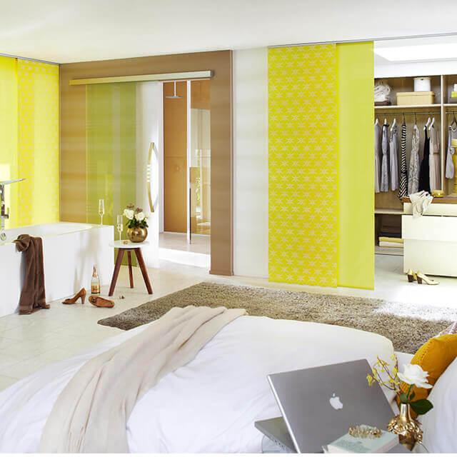 Flächenvorhang Gelbe Kombinationen als Raumteilerlösung