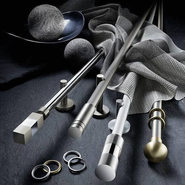 Verschiedene Halterungen für Vorhangstangen im Industrie Design