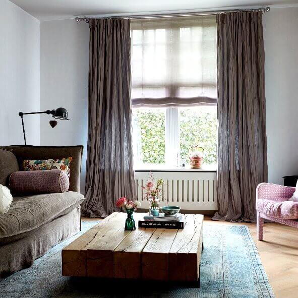Gardine mit doppelter falte perfekter faltenwurf - Gardinen bei groayen fenstern ...