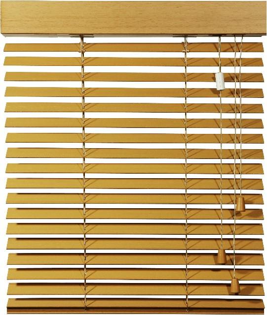 Holz-Jalousie mit Schnurzug und Schnurwende, Ansicht frontal offen