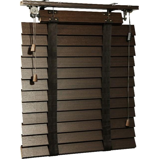 Holz-Jalousie Retro, Ansicht seitlich mit geschlossenen Lamellen