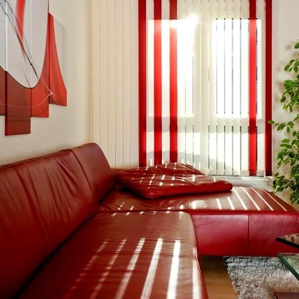 Lamellenvorhang für das Wohnzimmer, Multicolor in weiß und rot
