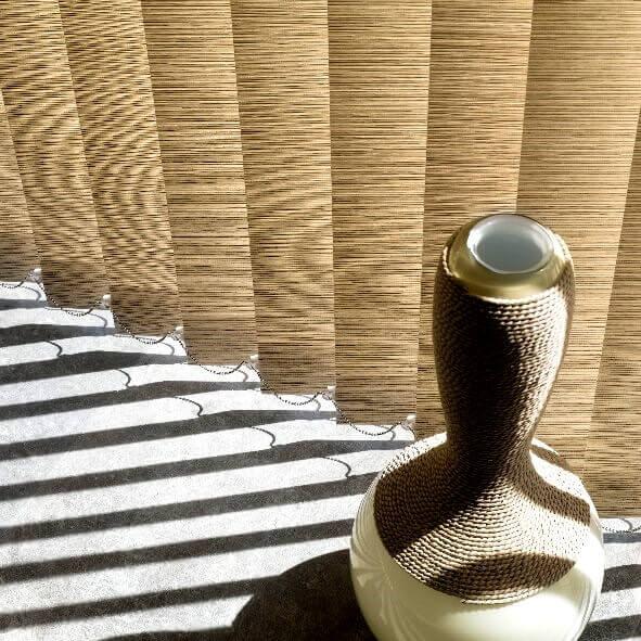 Lamellenvorhang mit 127mm Lamellenbreite in braun, Detailansicht