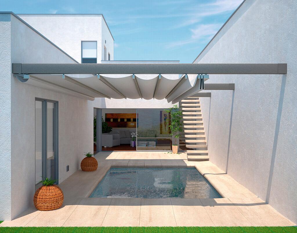 Die Pergola SUNRAIN S als Terrassendach über einem Outdoor-Pool