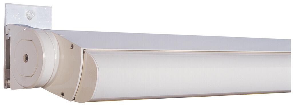 Kassettenmarkise-Modell FINO: Markisentuch und der Markisenarm fest im Gehäuse verschlossen