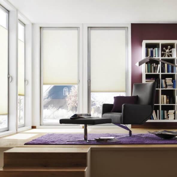 Moderne Wohnkultur mit doppelten Plissees