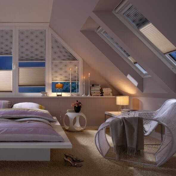 Tag-Nacht Plissees mit Sonderform für das Schlafzimmer
