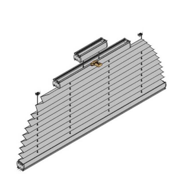Plissees für halbrunde Fenster, technische Zeichnung