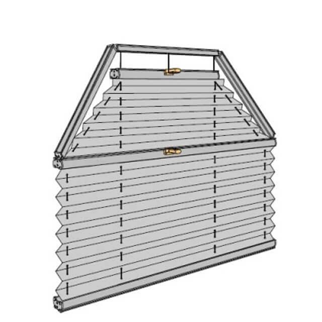 Plissees für zweiteiliges Trapezfenster, technische Zeichnung