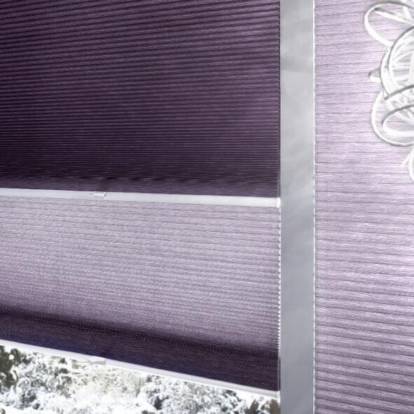 Tag und Nacht Plissee in lila Detailansicht