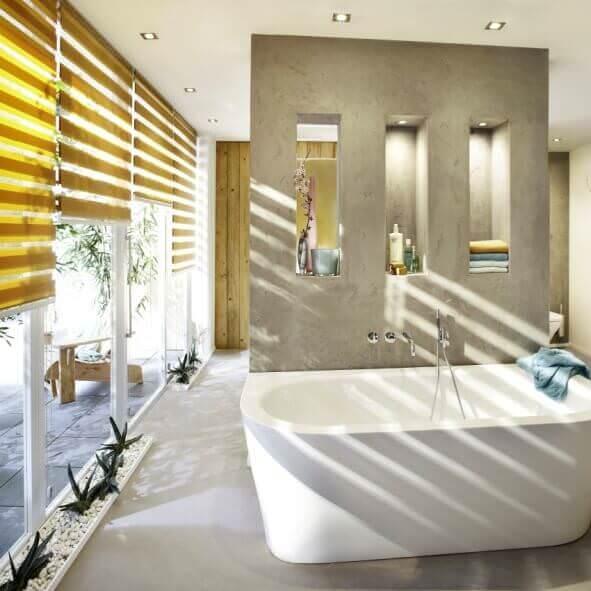 Sunstrip Doppelrollo gelb Badezimmer