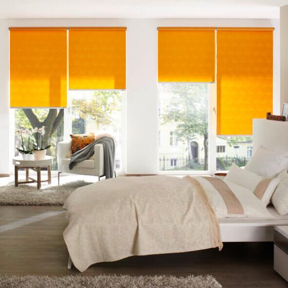 eRollo orange Schlafzimmer tagsüber