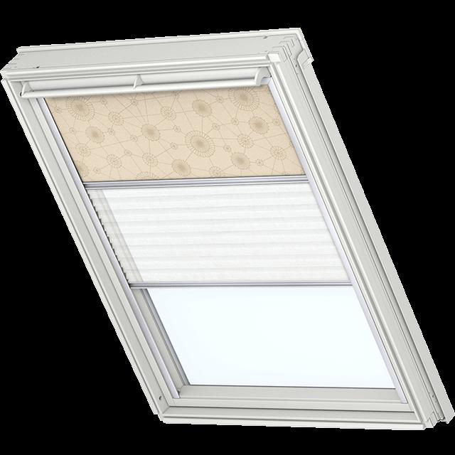Velux Vorteils-Sets - Verdunkelungsrollo & Faltstore 0102 beige Muster / weiß