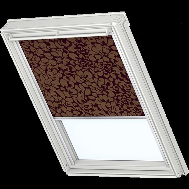 Velux Verdunkelungsrollo Farbe 3112 Muster lila / beige