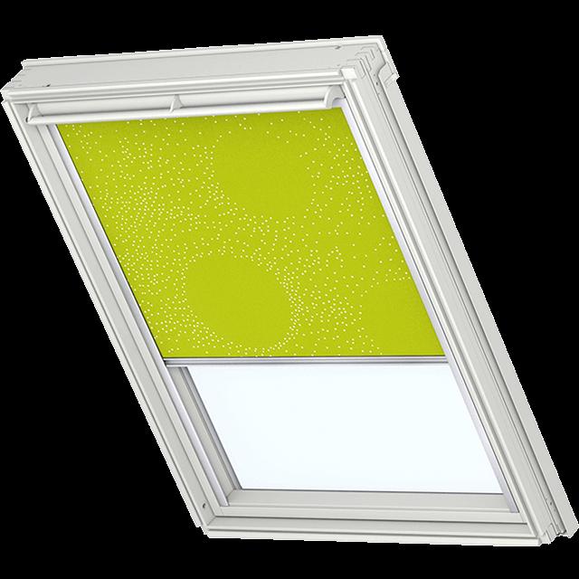 Velux Verdunkelungsrollo Farbe 3122 Muster grün / weiß