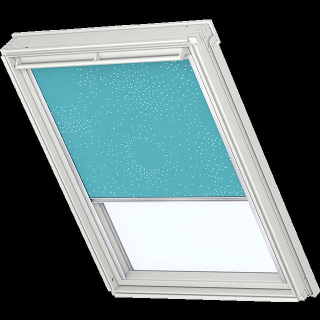 Velux Verdunkelungsrollo Farbe 3124 Muster türkis / weiß
