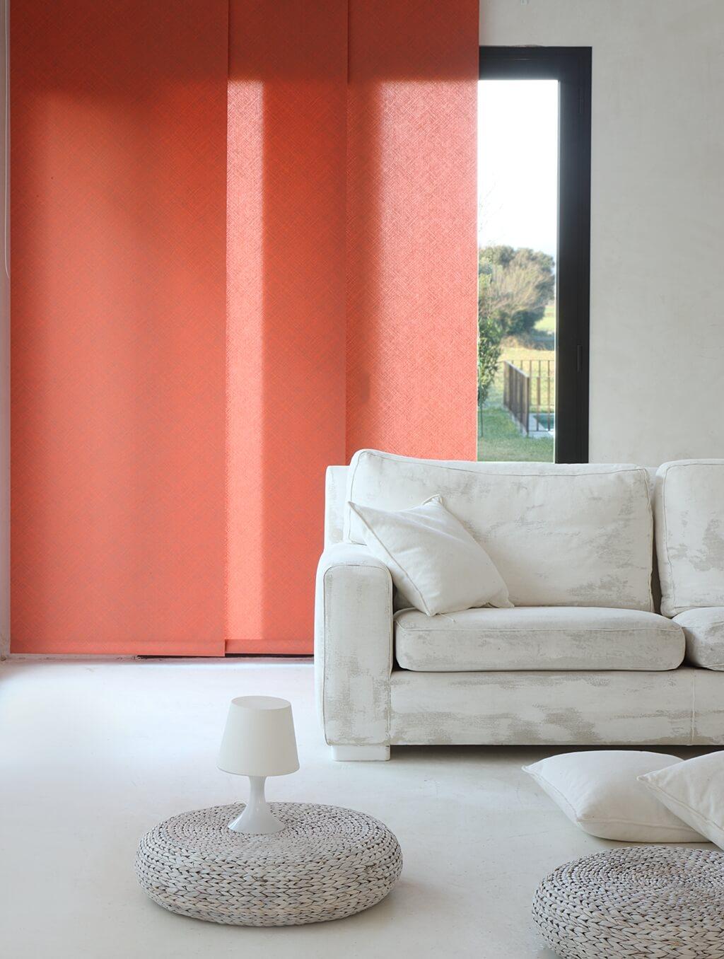Flächenvorhang Bandalux mit rotem Dekorstoff