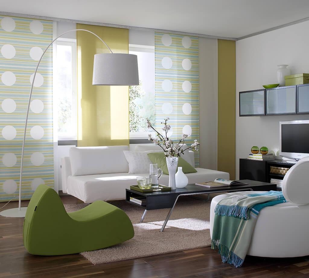 Farbenfrohe Flächenvorhang Kombination mit Dekorstoff