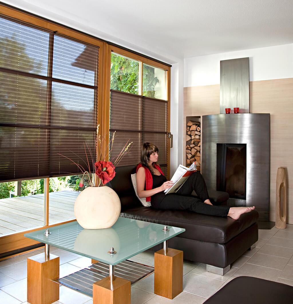 Braune Plissees an großen Terrassenfenstern