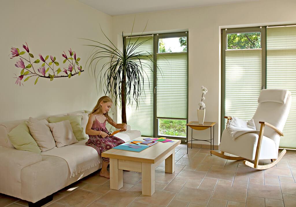 Sichtschutz im wohnzimmer moderne plissees gardinen und - Plissee wohnzimmer ...