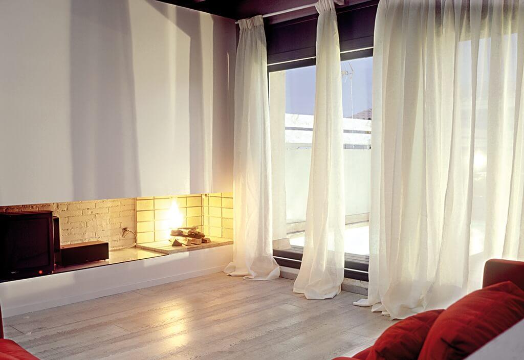 Vorhang Bandalux in transparen Weiß mit Smokband